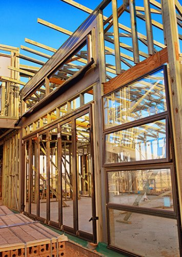 Frame of a new house being built