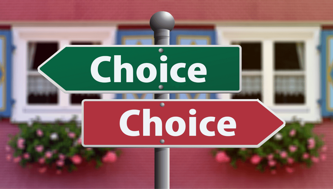 Select the Right Building and Pest Inspector blog banner for news section of Total Inspections website. Image features a street sign with two choice options